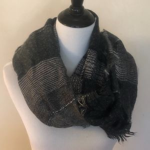GREY AND BLACK MULTI COLOR INFINITY SCARF.